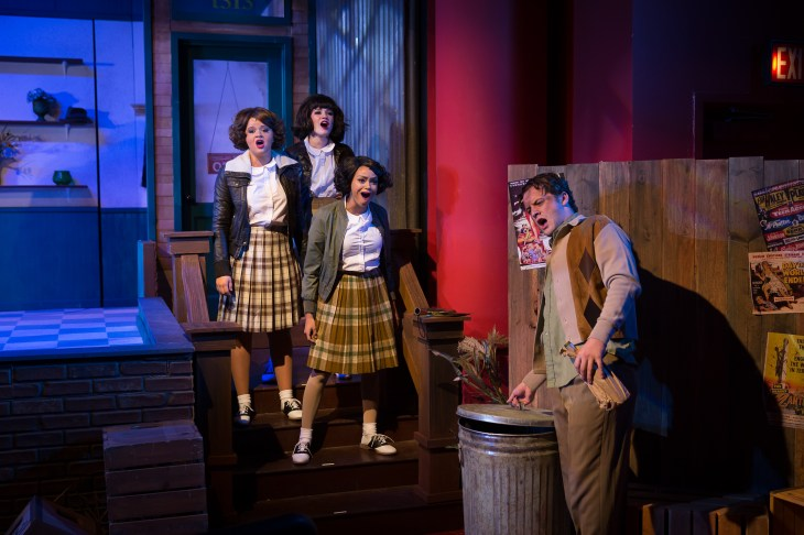 """Skid row: Mackenzie Stafford, left, Caitlin Lopez, Kindle Cowger and Will Bishop in """"Little Shop of Horrors."""" Photo / StageWorks Fresno"""