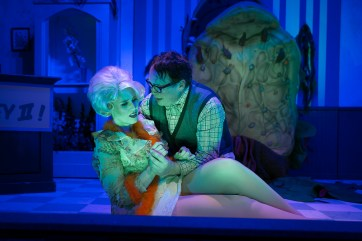 """Duet: Abigail Nolte, left, and Terry Lewis in """"Little Shop of Horrors."""" Photo / StageWorks Fresno"""