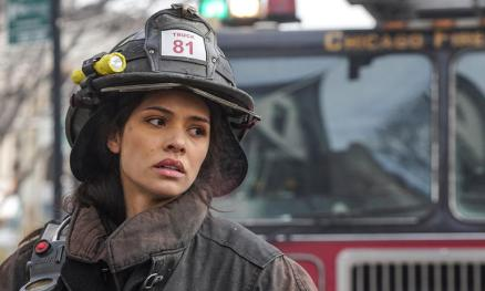 "Miranda Rae Mayo in a scene from ""Chicago Fire."""