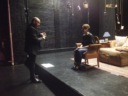 Janice Noga consults with director James Phillip Gates in New York.