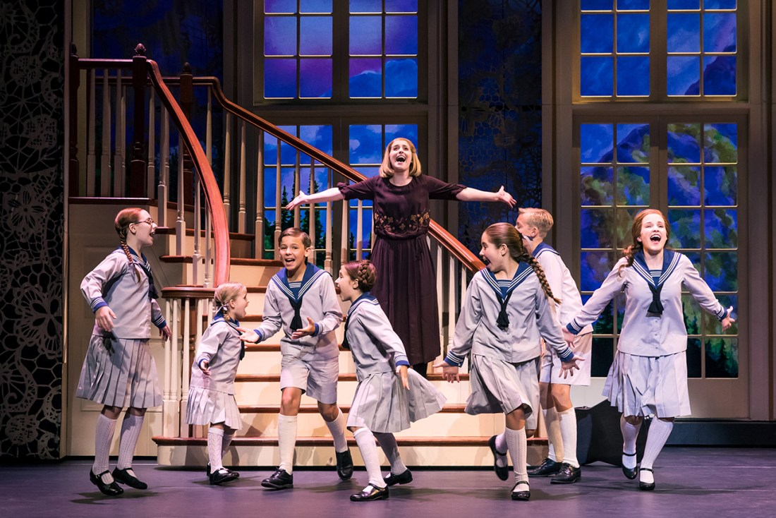 Jill-Christine Wiley as Maria Rainer and the von Trapp children. Photo by Matthew Murphy (2)