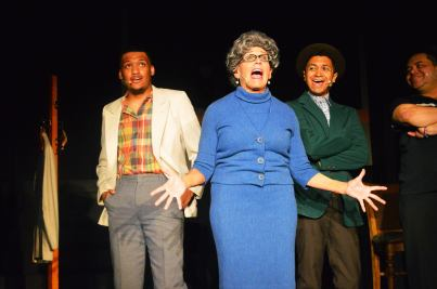 "Samuel Walls, left, is Delray, Lilly Dale Reed, center, is Gladys, and Jeremy Salas is Gator in ""Memphis."""