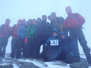 The summit of Ben Lomond with Tom E, Matt, Nicola, Stewart, Danny, Megan, Julie, Bosco, Jenny, Tom P, Ian & Alys