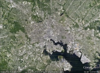 Baltimore, Maryland aerial. From Google Earth.