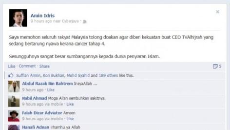 Status Amin Idris di akaun Facebooknya.