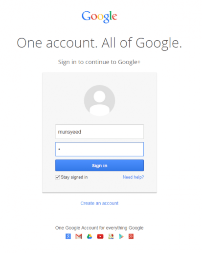 login googleplus