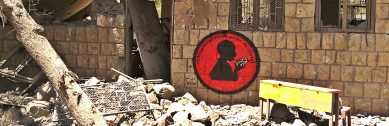 """Children Without Schools"" My mural in the ninth activity in Ruins Campaign, on a remains of Alnajah School, Bani Waleed village."