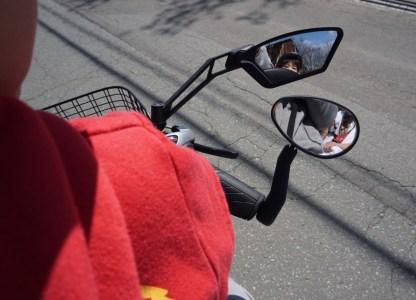 子供乗せて自転車乗るならバックミラーは超推奨装備