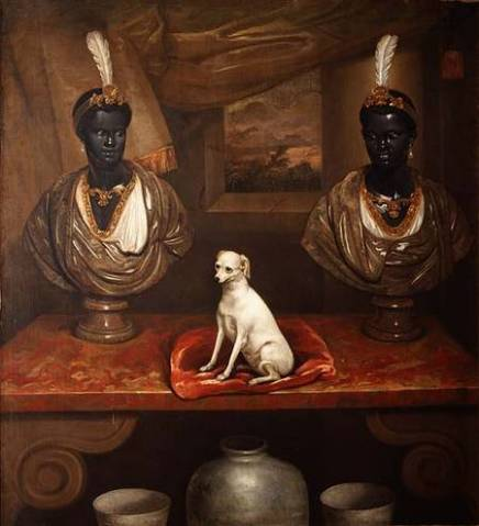 CH27560 Two Blackamoor Busts and a Terrier, c.1720 by English School, (18th century) Private Collection © Christie's Images English, out of copyright