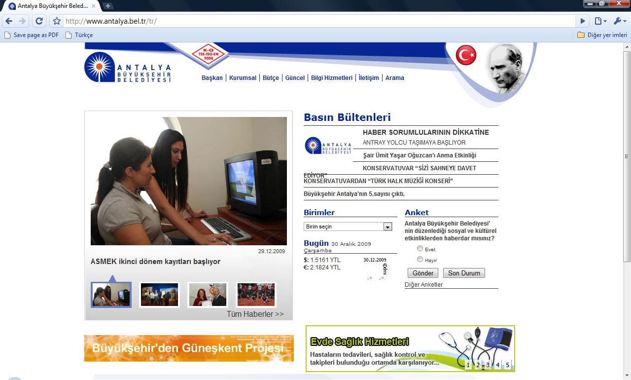 Antalya Büyükşehir Belediyesi Web Sitesi 30 Aralık 2009