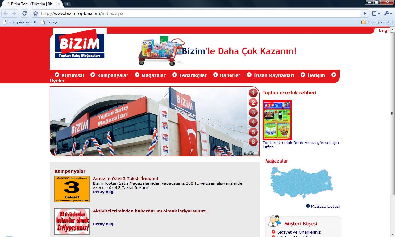 Bizim Toplu Tüketim Web Sitesi 31 Aralık 2009