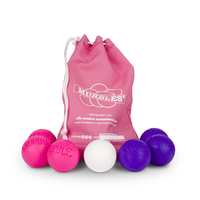 Murbles 2 Player 7 Ball Tournament Set Pink Bag