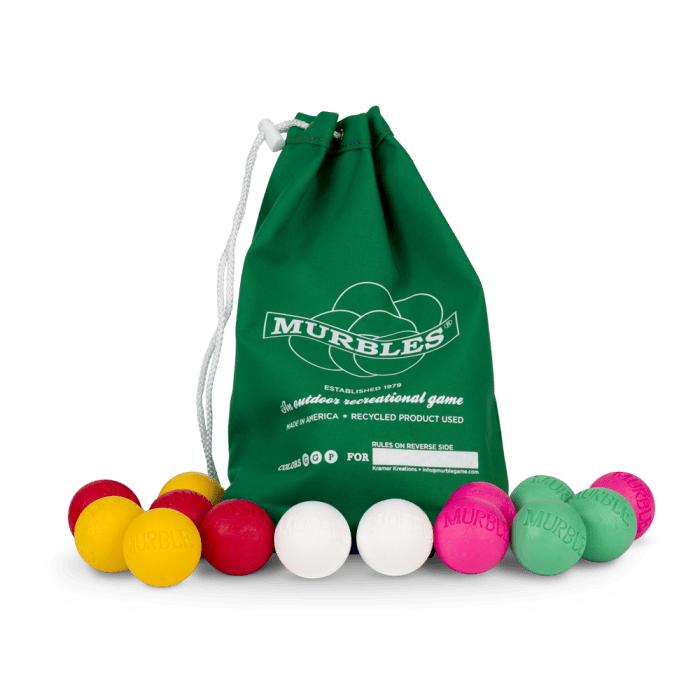 Murbles 4 Player 14 Ball Medium Tournament Set Green Bag