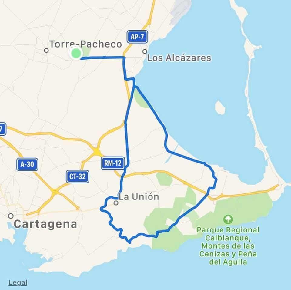 Murcia Bike Hire Route Map