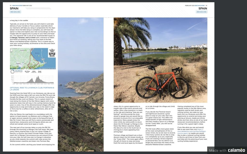 Bike Magazine - February 2021 Issue - Murcia Bike Hire Article