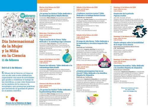 Cartel del Museo de la Ciencia y el Agua para el Día Internacional de la Mujer y la Niña en la Ciencia
