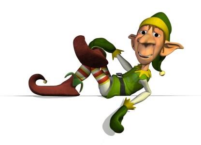 Santa's Elf relaxes on an edge - 3D render.