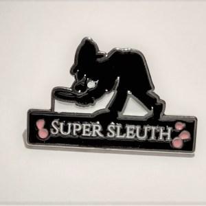 MurderedforMoney Murder Mystery Super Sleuth Lapel Pin Badge