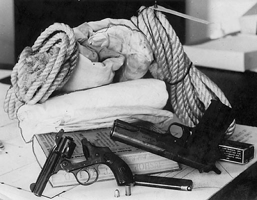 Guns, rope and bloody sheet