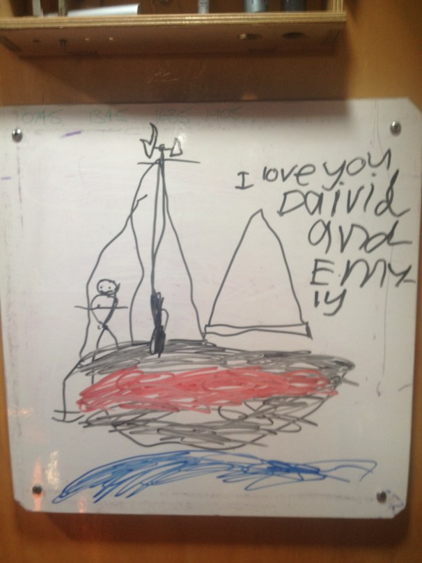 later that morning we receive a call from the Children (with paternal gradparents at White Beach) the power is out (no water or services) the fire front is an unknown quantity, it is time to collect them and deliver them back to Hobart away from the distress of it all. Sage thanks David and Emily with a fabulous pic on the whiteboard xo