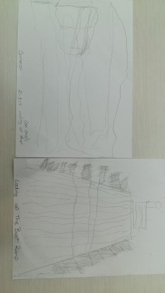 Here I applied a step by step process with Cameron on how to draw the ramp. The top is his first version, bottom is following the steps.