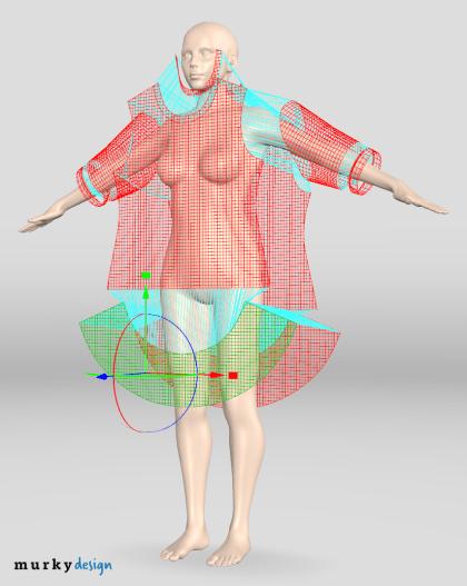 Szablony odzieżowe rozmieszczone na awatarze - projektowanie odzieży 3D.