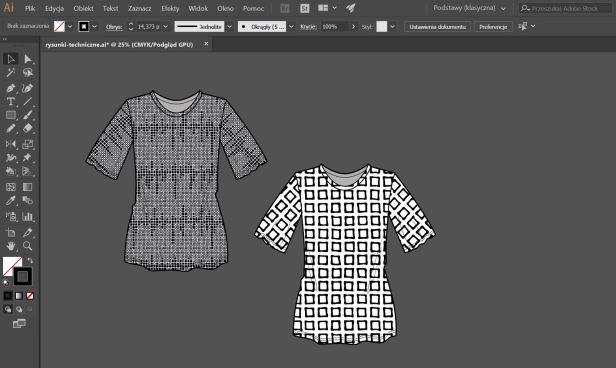 rysunki techniczne odzieży
