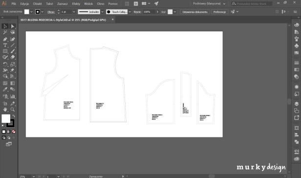 konstrukcja odziezy z systemu CAD przeniesiona do programu wektorowego illustrator