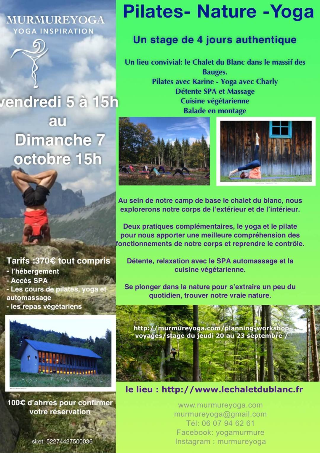 week-end yoga pilate 20 au 23 septembre 2018