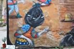 Detalle del mural 'Trash in head'