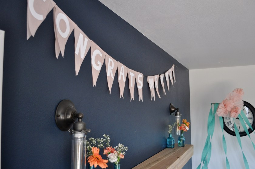 peach mint and navy color scheme, congrats mr and mrs pennant banner, wedding shower decorations