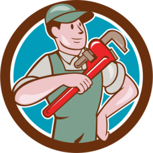 Illustration of a plumber holding a wrench