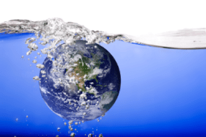 Graphic of earth under water