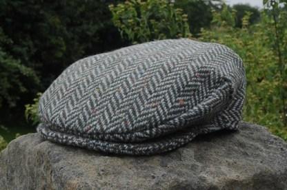 Herringbone Tweed Cap Green Grey