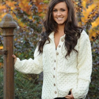 Lagan Aran Ladies Cardigan Natural