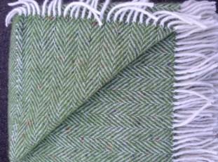 Newgrange Irish Tweed Throw Apple Green