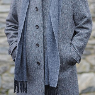 Dublin Herringbone Donegal Tweed Overcoat Charcoal Fleck