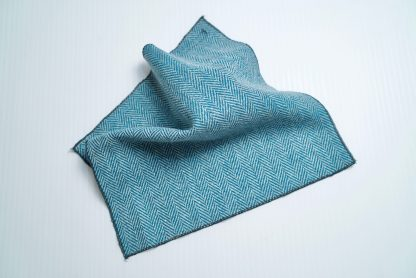Donegal Tweed Pocket Square Turquoise Grey