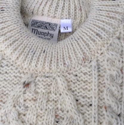 Innismor Irish Aran Sweater Ivory Fleck