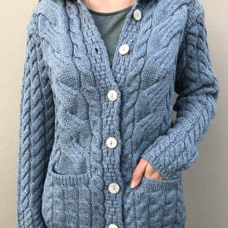 Falcarragh Aran Ladies Cardigan - Duck Egg Blue