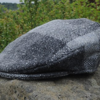 Country Check Tweed Cap Charcoal Silver