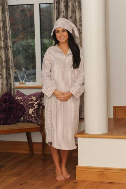 Gleneske Traditional Stripe Ladies Nightshirt Cranberry 2392