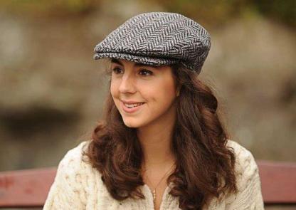 Ladies Herringbone Donegal Tweed Flat Cap