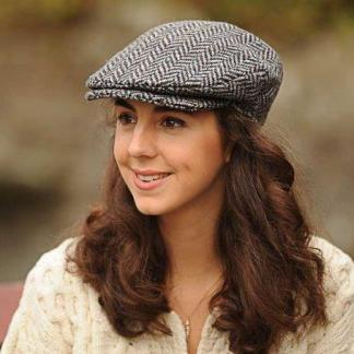Ladies Herringbone Donegal Tweed Flat Cap