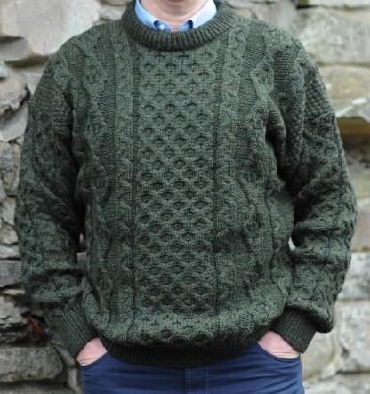 Legacy Irish Aran Sweater Moss Green