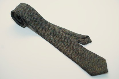 Donegal Tweed Tie Herringbone Green Black
