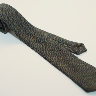 Donegal Tweed Tie Herringbone Green Black