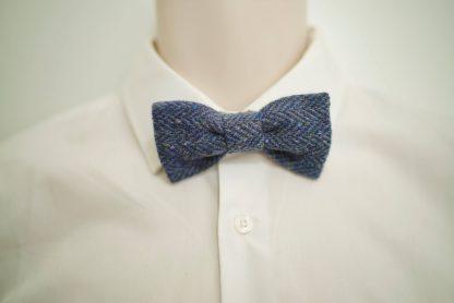 Donegal Tweed Herringbone Bow Blue