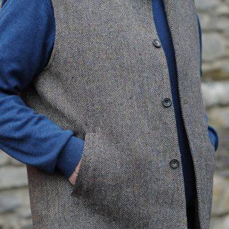 Wexford Tweedback Herringbone Waistcoat Almond Black