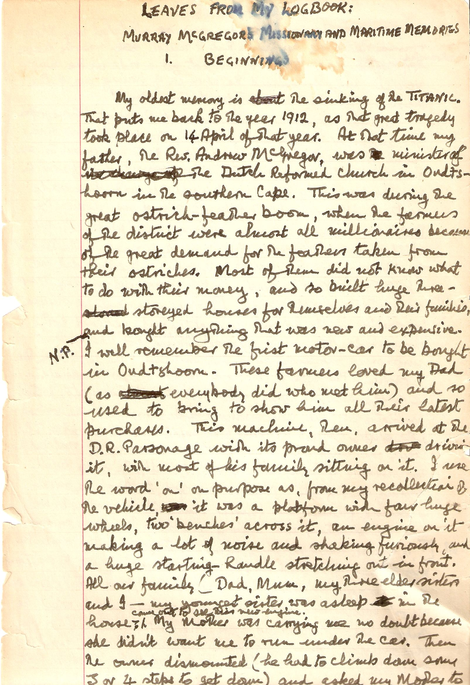 Page One of the Manuscipt